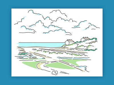 Wondering of Seven Sisters Cliffs fields nature landscape sketch illustration