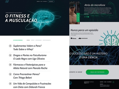 Brain Gains  - Website Concept science music natural caio bottura musculacao fitness bodybuilding sport podcast radio website design