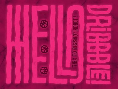 Hello Dribbble 👋 glow logo font type typography pink dribbble hello