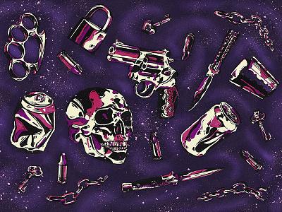 chrome of the death 🔪 ink black galaxy pink purple knife pattern gun skull metal silver chrome