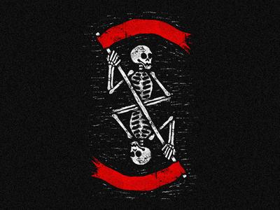 Deadwork 💀 punk grunge trash flag symetry death skull skeleton linocut stamp