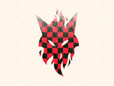 Personal branding 🏁 checkerboard pattern flames fire red fox logo