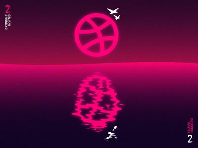 2 dribbble invites ! give away illustrator reflect water sun dribbbler pink dribbble 2 two invites