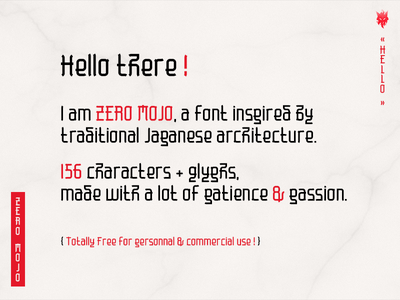 Zero Mojo text (free font) free font dribbble words japanese typography typeface type font paragraph text