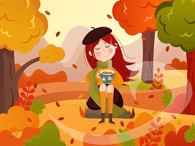Autumn landscape nature girl leaves autumn ill vector ui logo illustration icon graphic design design branding app