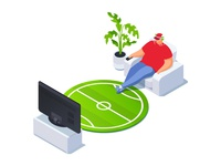 Isometric football fan watching TV