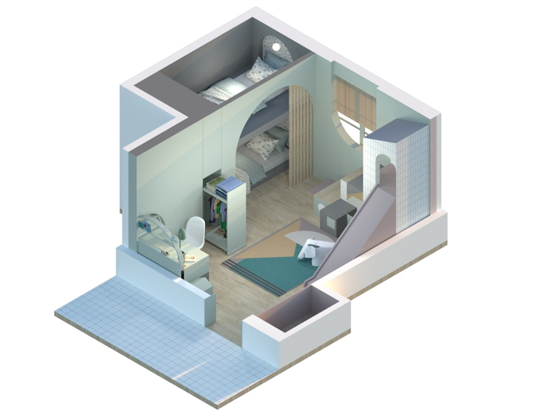 #45 desk bed colour sketch bedroom arquitectura interiorism architecture axonometric render
