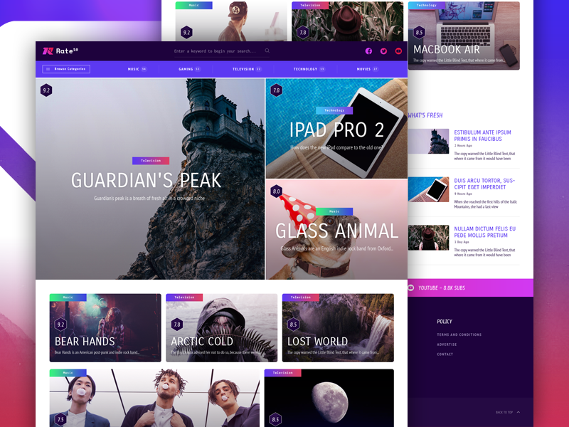 Rate10 - A Music, Movies, & Gaming Review Theme by Matt | Dribbble