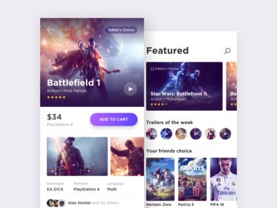 Games Market Concept e-commerce commerce movie concept design ios android ux ui games