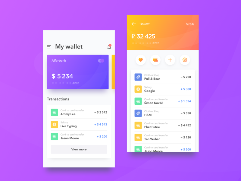 Wallet UI interaction motion android apple amazing great sketch animation ios design ux ui