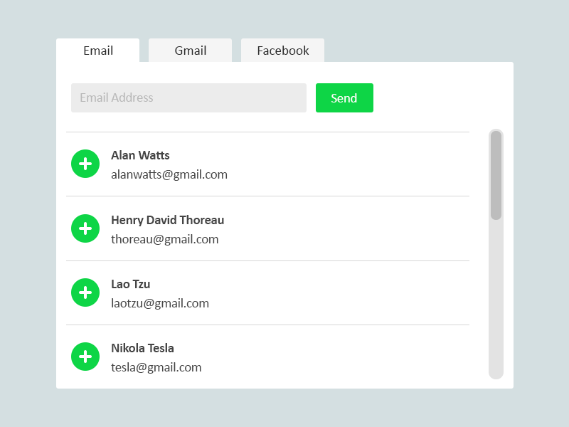 Invite Friends UI Panel flat ui desktop mobile simple clean email