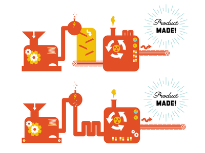 Product Machine illustration infographic machine cogs science product conveyor belt funnel