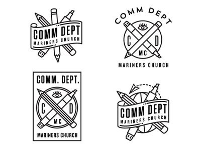 Logo concepts logo pencil marker eye banner globe communication branding identity
