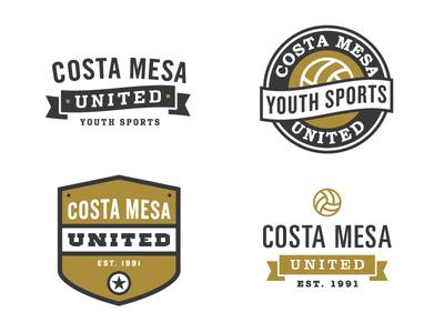 Sports logos logo branding identity sport sports volleyball badge emblem gold ribbon banner costa mesa