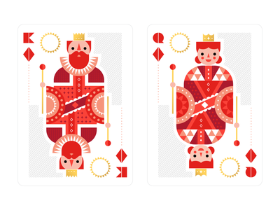 Playing cards deck monarch illustrator vector illustrator vector people illustration monarchy royal playingcards playingcard playing cards shapes design geometric queen king