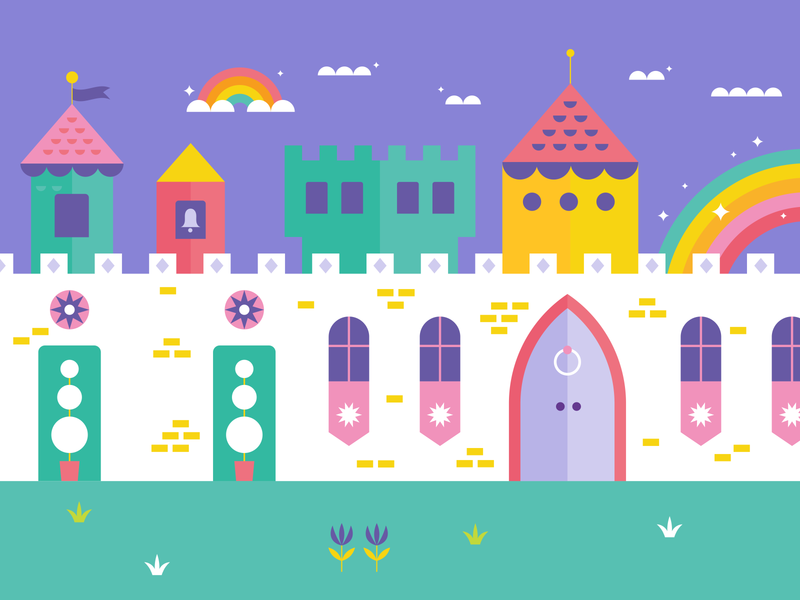 part of a big ol' castle fairy shapes geometric flat illustration flatdesign vector illustrator illustration cloud toy magic magical wall imagination play rainbow building fairytale castle