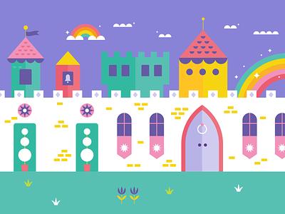 part of a big ol' castle fairy shapes geometric flat illustration flatdesign vector illustrator illustration cloud toy magic magical wall imagination play rainbow building fairytale castle