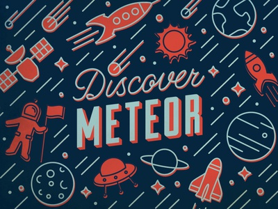 Discover Meteor lettering and icons icons meteor comet rocket astronaut spaceship solar space moon planets lettering