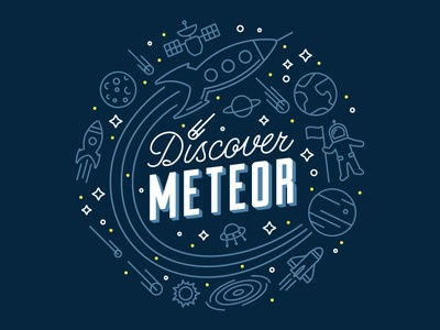 Discover Meteor T-shirt space moon planets lettering icons meteor comet rocket astronaut spaceship solar