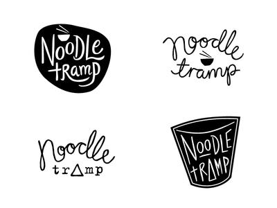 Noodle Tramp logo concepts food chopsticks bowl restaurant tramp noodles logo