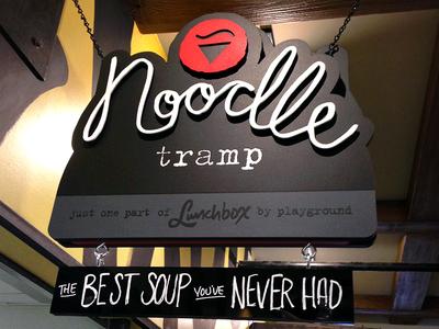 Noodle Tramp Logo signage hand lettering logo noodle sign restaurant