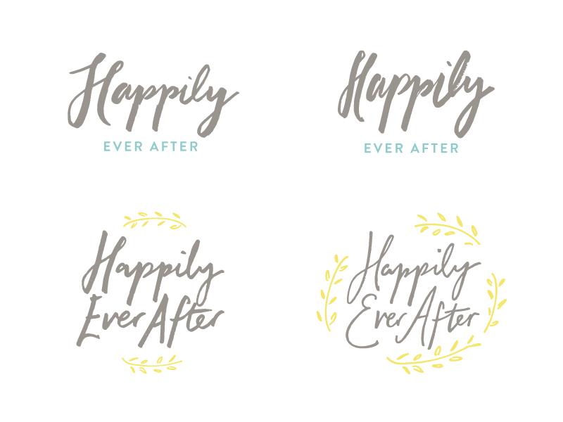 Brush Lettering Logos branch leaf olive marriage happily ever after hand lettering logo ink brush