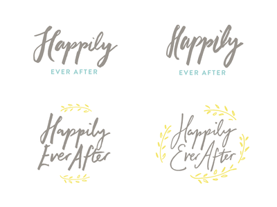 Brush Lettering Logos branch leaf olive marriage happily ever after hand lettering logo ink brush