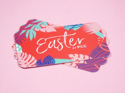 Easter Invitation Card monstera tropical card christianity good friday church easter
