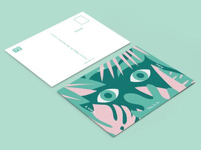 Don't Look Now postcard look green pink monstera leaves tropical eyes postcard