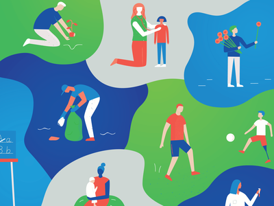 La Jolla Country Day School child football soccer medical teacher neighbour neighbors earth giving community serve give editorial illustration editorial vector woman man people figures illustration