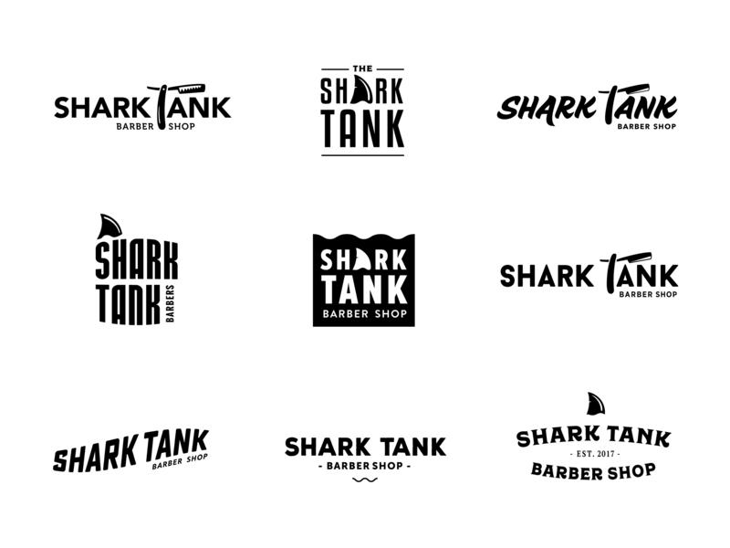 Shark Tank logo design logo design identity design branding brand barbershop razer razor shop shark tank logo barber shark