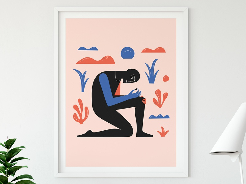 Finding Stones print pink color geometric leaves silhouette man art print vector shapes tropical illustration print goliath stone david