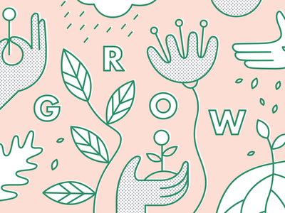Part of a fun project... WIP line drawing line vector tropical illustration growth halftone flowers nature seeds garden plants roots hands leaves grow