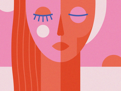 Fading youth shapes sun old young eyes vector illustrator illustration geometric face girl age pink woman