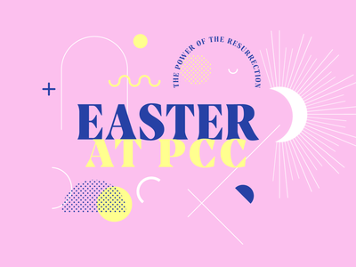 Easter at PCC memphis design shapes church squiggles halftone lines good friday tomb resurrection jesus christ jesus christianity christian easter