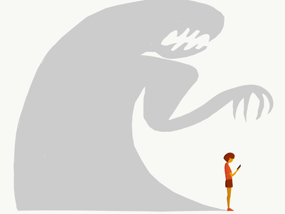 Online Predators editorial illustration flatillustration vector illustration smartphone girl shadow tech technology phone iphone