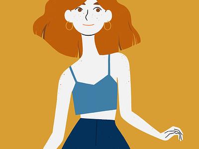 Freckle fresh yellows freckles 70s fashion illustration