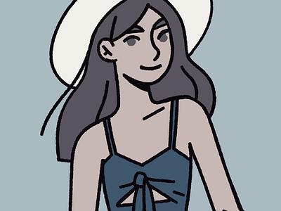 Blues women fashion illustration