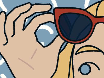glasses on