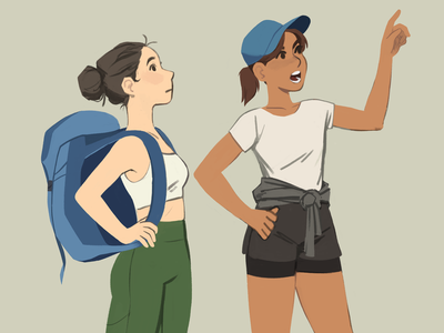 Hikers outdoors hikers hiking doodle women illustration