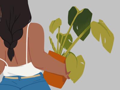Plant greens illustration woman