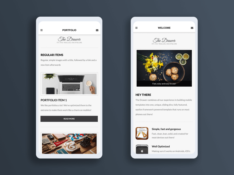 Drawer 2.0 | Mobile Template & Google AMP frontend webdesign sidebar android ios portfolio homepage javascript css html ux ui homepage design template design templates mobile design mobile ui template mobile google amp