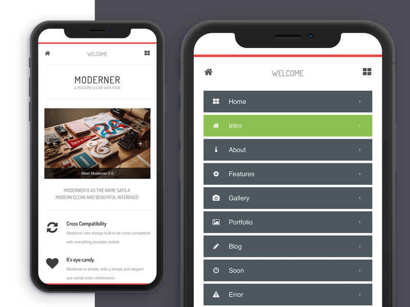 Moderner 2.0 | Mobile Site Template & Google AMP dark ui light design mobile site ux ui javascript css html mobile app design webdeisgn dropdown ui mobile design google google amp mobile ui dropdown menu homepage design mobile website design template mobile