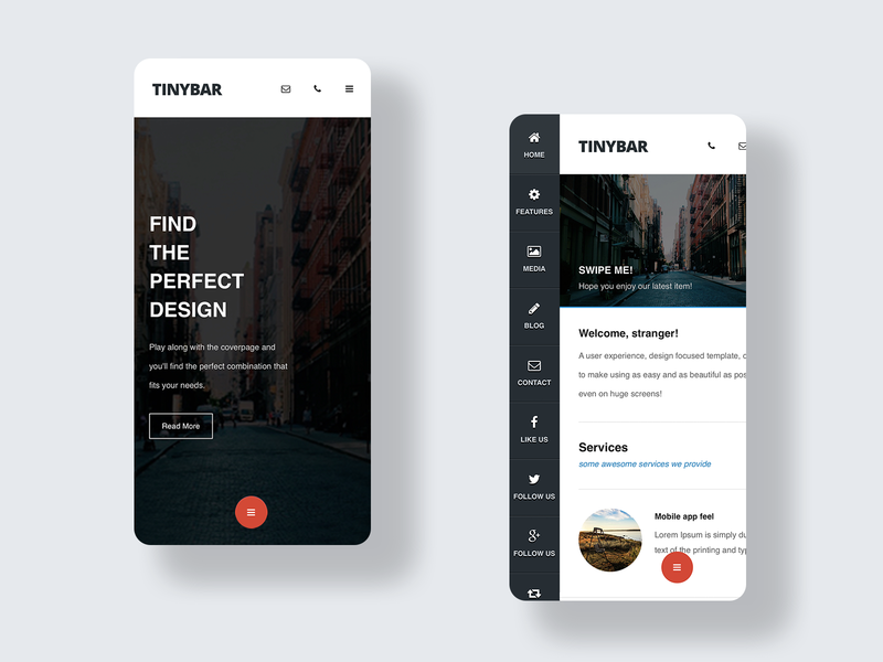 TinyBar | Mobile Website Template design large header header ux ui landing page design landing page sidenav tiny sidebar dark sidebar sidebar mobile design modern ui webdesign mobile ui html template template website mobile