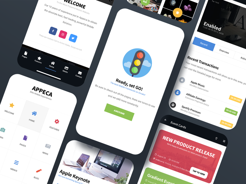 Appeca 3.0 | New Features & Pages | Mobile Site Template creative design design dailyui dark ui light ui webdesign template design galleries full screen menu event page wallet page card design landing page footer menu mobile website design javascript css html template mobile
