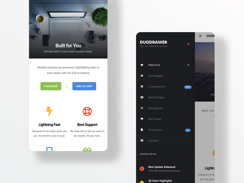 DuoDrawer 2.0 | Mobile Web App Kit user interface design ux ui mobile app design pwa javascript css html website mobile website mobile design homepage design phonegap cordova dark sidebar sidebar menu app design mobile app mobile ui app mobile