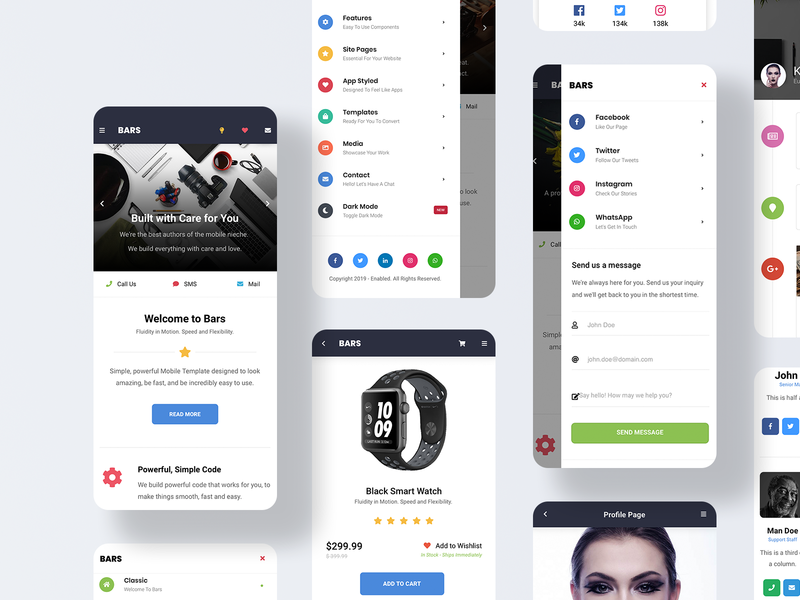 Bars Mobile | Mobile Site Template & PWA timeline design dark mode dark ui sidebar branding design daily ui user interface design ux webdeisgn ui social media icons contact us profile page homepage design light light ui sidebar design store design bars