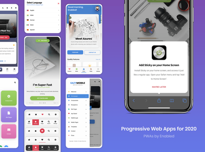 PWA | Best Progressive Web Apps for 2020 | Collection application design ux ui add to home landing page web application sidebar menum footer menu css html web application design mobile web application webdesign web app design web app progressive web app progressive web apps pwa