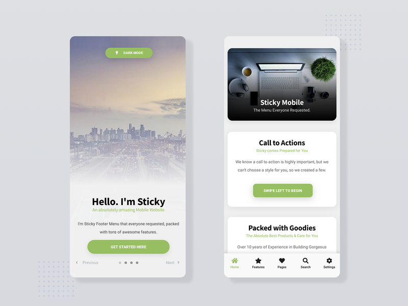 Sticky Mobile | Mobile Site Template webdesign web app design web app walkthrough ux ui sticky nav sticky slider light landing page footer menu footer design footer dark ui dark app daily ui creative design call to action app