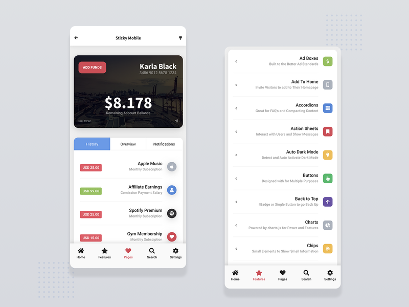 Sticky Mobile | Introducing Full RTL Support dark mode dark ui light ui card webdesign mobile ui web app app mobile app components wallet page card design footer design sticky nav footer nav footer menu mobile template sticky rtl ui rtl